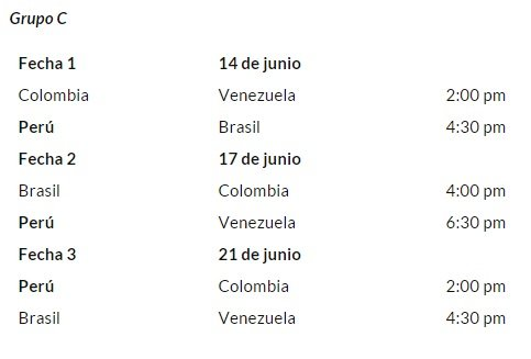 Copa am rica 2015 horario peruano del fixture oficial for Horario peru wellness