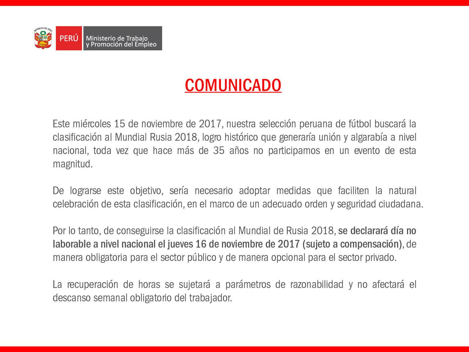 Ministerio de trabajo confirma feriado o d a no laborable for Ministerio del interior empleo